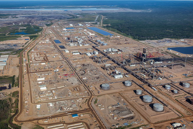 Oil sands installation aerial view