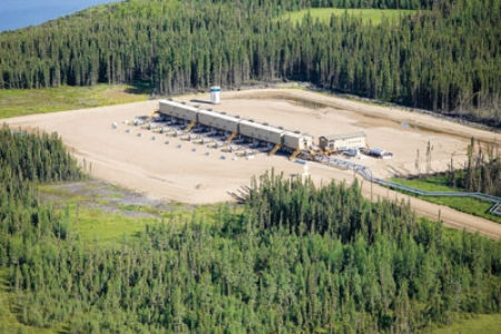 oil sands drilling pad photo