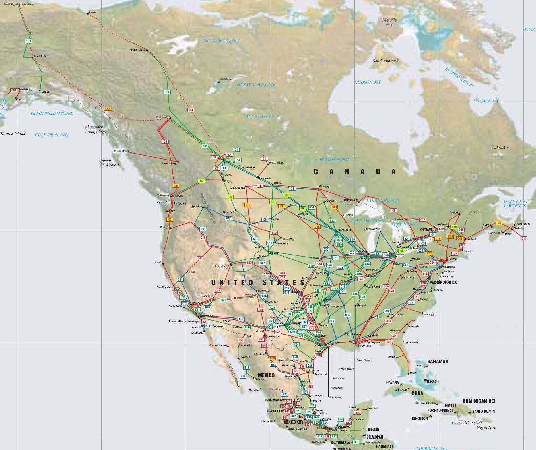 North American pipelines map