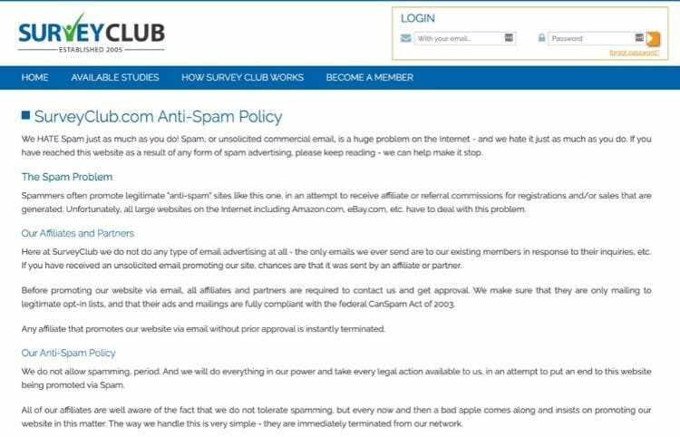 survey-club-ant-spam-policy-review